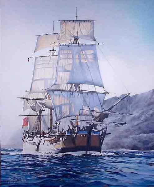 Captain Cook on the HMS Endeavour sailing through the Whitsunday Islands for the first time June 3rd 1770